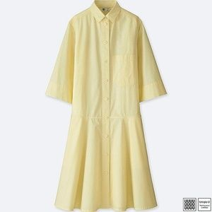 Uniqlo U Dropped Waist Yellow Dress